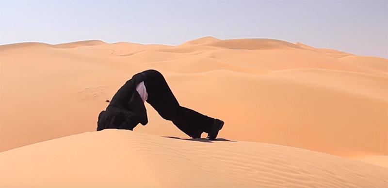 Cabeza enterrada en la arena